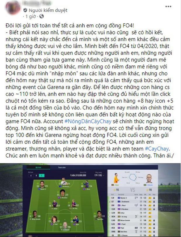 Đại gia nạp tiền tỷ vào FIFA Online 4 livestream phá tài khoản, trước khi nghỉ game còn lên tiếng rất gay gắt - Ảnh 1.