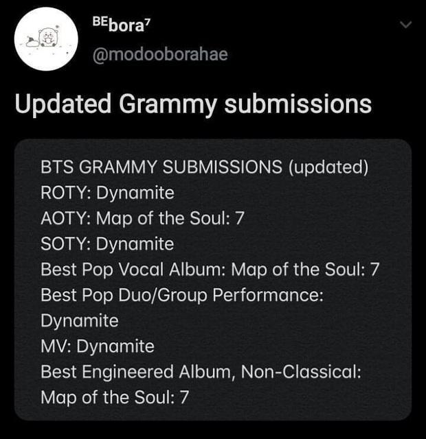 Xôn xao việc BTS và BLACKPINK nộp đề cử đến Grammy 2021: Dynamite được kì vọng nhiều, Ice Cream chắc... nộp cho vui? - Ảnh 1.