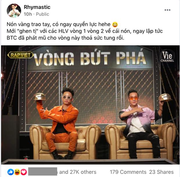 Rhymastic bất ngờ đăng ảnh nón vàng, còn ám chỉ việc tung mũ, Rap Việt sẽ có màn cứu thí sinh? - Ảnh 1.