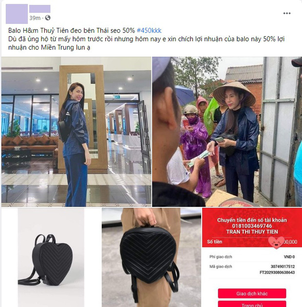 Balo đi cứu trợ miền Trung của Thủy Tiên thành hàng hot, có shop tuyên bố bán được hàng trích luôn lãi làm từ thiện - Ảnh 5.