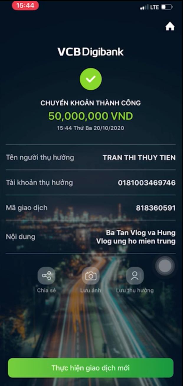 Bà Tân Vlog gửi thẳng 50 triệu đồng cho Thuỷ Tiên để ủng hộ cứu trợ đồng bào miền Trung - Ảnh 2.