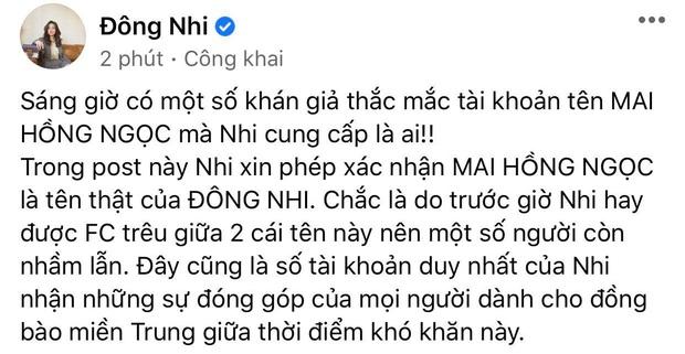 Đông Nhi thông báo kêu gọi được 313 triệu đồng hỗ trợ miền Trung, giải thích việc tài khoản nhận tiền mang tên khác - Ảnh 3.