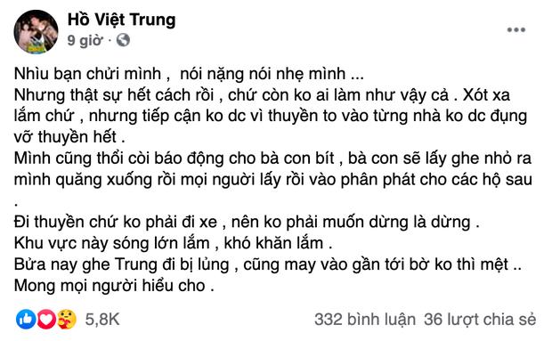 Hồ Việt Trung chính thức lên tiếng khi bị chỉ trích vì quăng quà cứu trợ cho người dân miền Trung, Tiến Luật vào trấn an - Ảnh 2.