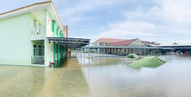 Lũ rút, giáo viên lội nước cao nửa mét vào trường mò tìm sách cho trò - Ảnh 1.
