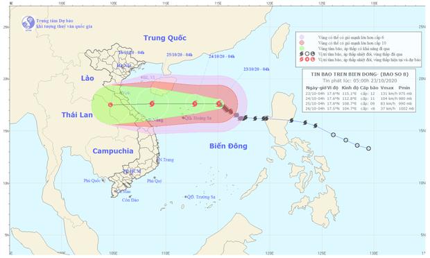 Bão số 8 hướng thẳng bờ biển từ Hà Tĩnh đến Quảng Trị, khả năng suy yếu khi vào đất liền - Ảnh 1.