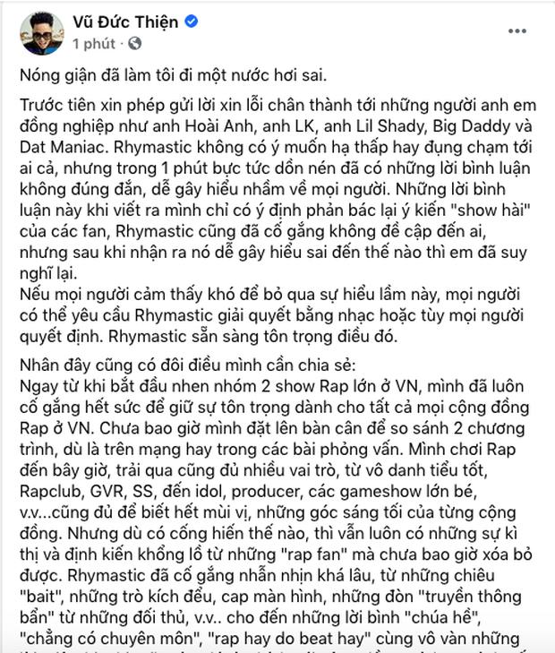 Sau nghi vấn phát ngôn cà khịa King Of Rap, Rhymastic đăng đàn xin lỗi: Nóng giận đã làm tôi đi một nước hơi sai - Ảnh 4.