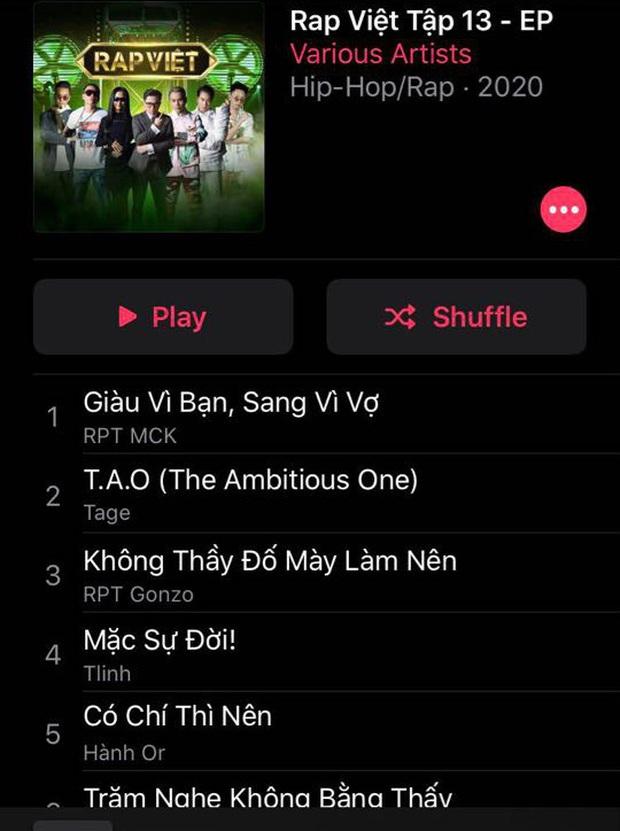 Rap Việt bất ngờ leak nhạc của tập 13 lên cả Apple Music lẫn Spotify ngay trước giờ phát sóng - Ảnh 3.