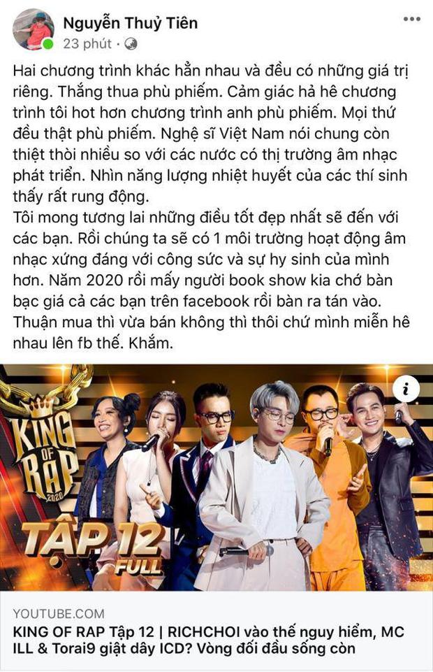Giữa ồn ào vạ miệng của Rhymastic, Tiên Cookie phản đối mạnh việc so sánh 2 show Rap - gọi ngược bầu show nói thí sinh hét giá là khắm - Ảnh 1.