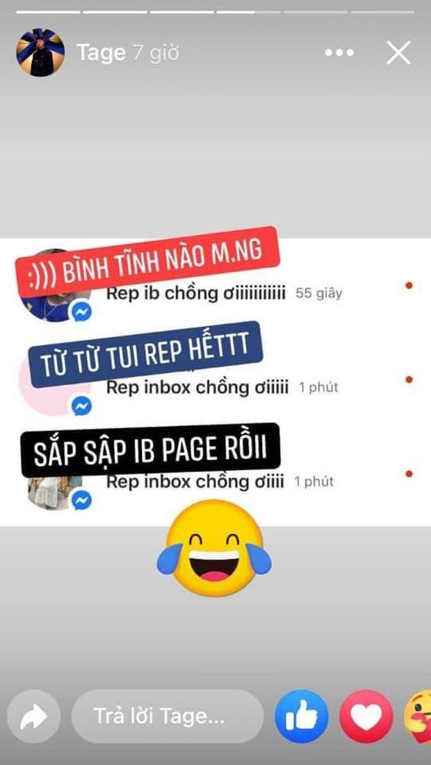 Tage năn nỉ các fan bình tĩnh khi bị spam loạt tin nhắn: Rep inbox chồng ơi sau vòng 3 Rap Việt - Ảnh 5.
