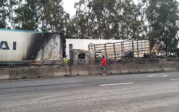 Tai nạn liên hoàn, xe container đấu đầu xe tải rồi 2 xe cháy trơ khung trên Quốc lộ 1A - Ảnh 1.