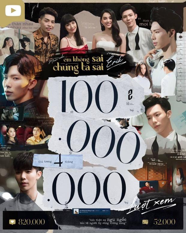 #EKSCTS chính thức đạt 100 triệu view, Erik nhập hội nam nghệ sĩ có nhiều hit trăm triệu view nhất cùng Sơn Tùng M-TP và Jack! - Ảnh 1.