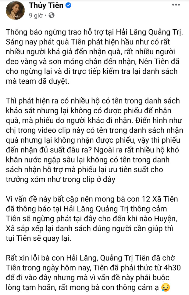 Thủy Tiên dừng phát tiền cứu trợ ở Hải Lăng - Quảng Trị vì thấy người nhận tiền đeo vàng: Chính quyền địa phương nói gì? - Ảnh 1.