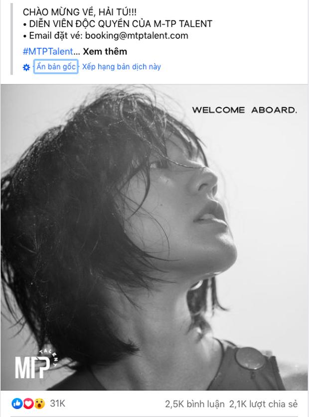 Follower trên Facebook và Instagram của Hải Tú tăng chóng mặt sau khi chính thức về chung nhà Sơn Tùng M-TP - Ảnh 1.
