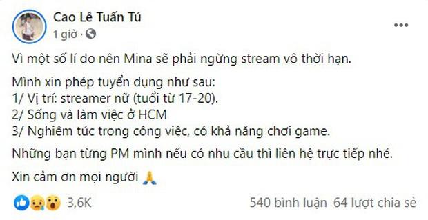 Cô giáo Mina Young bất ngờ ngừng livestream vô thời hạn, nhiều đồn đoán liên quan đến cặp đôi Cara - NoWay - Ảnh 1.
