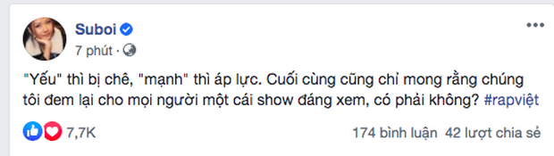 Suboi bất ngờ đăng đàn cực gắt để bảo vệ Rap Việt trước những tranh cãi trái chiều: Yếu thì bị chê, mạnh thì áp lực? - Ảnh 1.