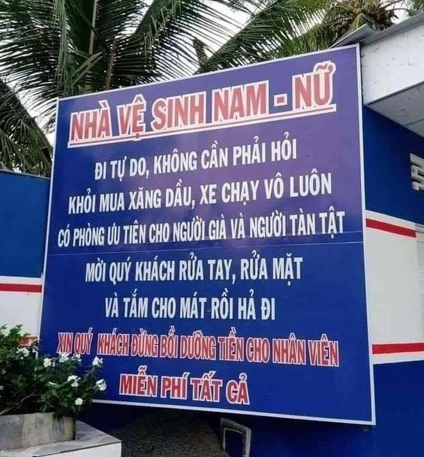 Cận cảnh cây xăng có các slogan độc nhất vô nhị ở An Giang - Ảnh 2.