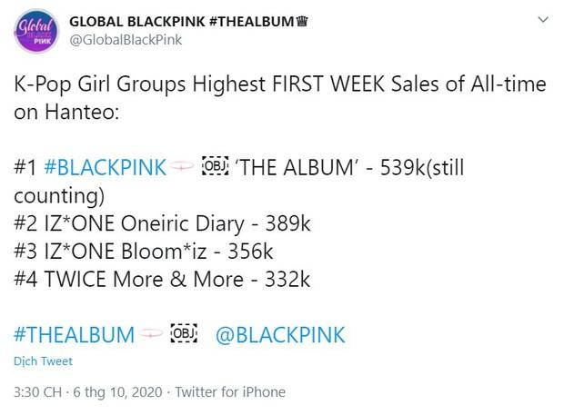 BLACKPINK chốt đơn ngày đầu với doanh số hơn nửa triệu album: Vẫn xếp sau BTS nhưng đá thẳng các nhóm nữ khác ra chuồng gà - Ảnh 2.