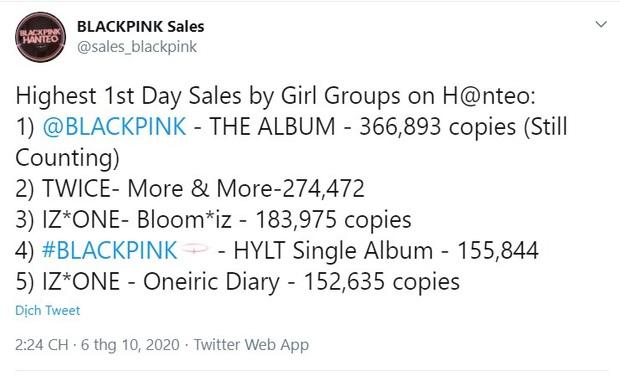 BLACKPINK chốt đơn ngày đầu với doanh số hơn nửa triệu album: Vẫn xếp sau BTS nhưng đá thẳng các nhóm nữ khác ra chuồng gà - Ảnh 1.