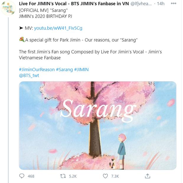 Fan Việt sáng tác hẳn 1 ca khúc làm quà tặng sinh nhật cho Jimin (BTS), ARMY quốc tế nghe xong cũng trầm trồ - Ảnh 2.