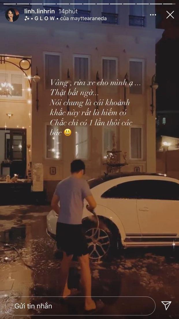 Linh Rin khoe được thiếu gia nhà tỷ phú đích thân rửa xe cho, dân tình lại lăm le soi căn biệt thự to vật vã - Ảnh 1.