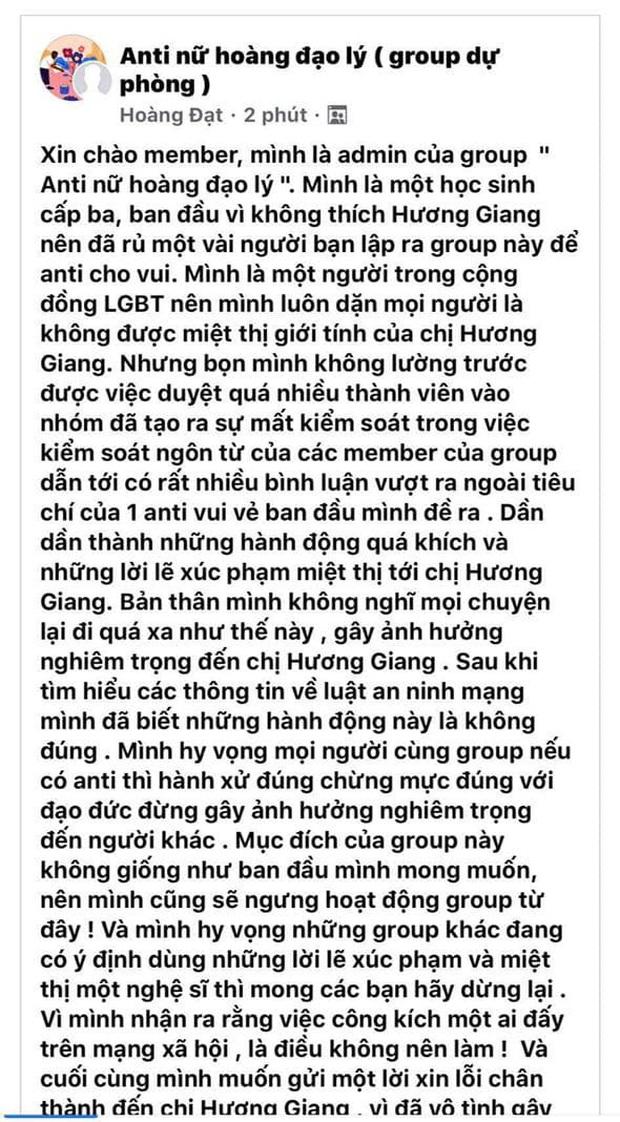 Câu chuyện không có hồi kết: Các group anti Hương Giang liên tiếp được lặp lại, netizen không biết đến khi nào nàng Hậu mới cảm hóa hết - Ảnh 2.