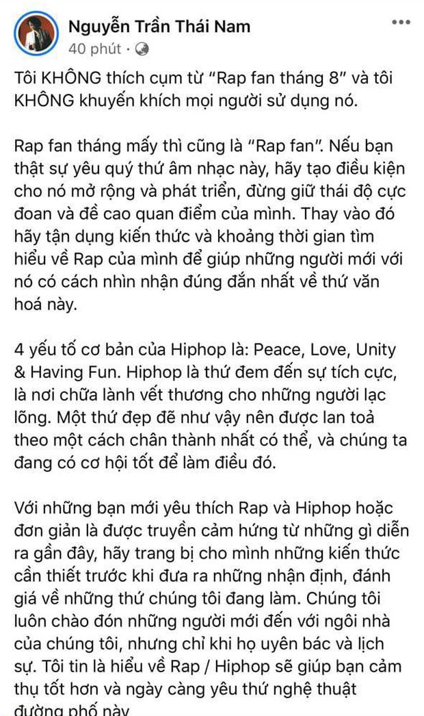 RPT Gonzo gay gắt chỉ trích cụm từ Rap fan tháng 8 được netizen tấm tắc ủng hộ: Thầy Nam nói quá chuẩn! - Ảnh 2.
