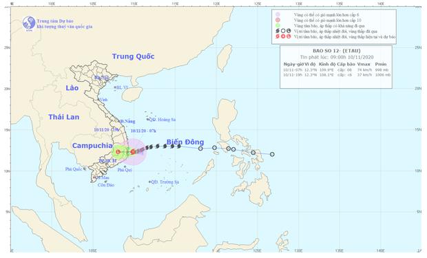 Bão số 12 giật cấp 10 đang áp sát miền Trung, từ Quảng Trị đến Khánh Hoà mưa rất lớn - Ảnh 1.