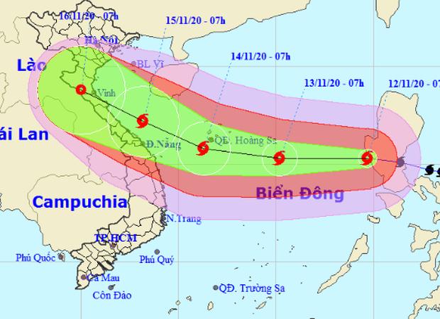 Bão Vamco giật cấp 15 tăng tốc đi vào Biển Đông, nhắm thẳng Hà Tĩnh đến Quảng Nam - Ảnh 1.