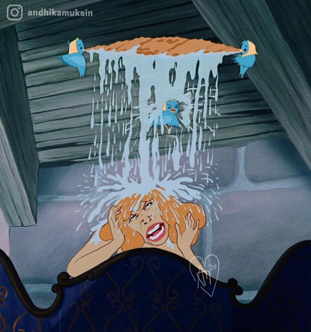 Một cơn mưa đi qua để lại dàn công chúa Disney trôi sạch bách lớp trang điểm, cười muốn nội thương với mặt mộc của Lọ Lem! - Ảnh 7.