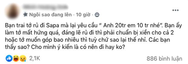 """Cô gái """"giãy nảy"""" vì bạn trai cầm 20 triệu đi Sa Pa mà vẫn yêu cầu ăn chia, netizens nhức nhối: Thôi chia tay giùm! - Ảnh 1."""
