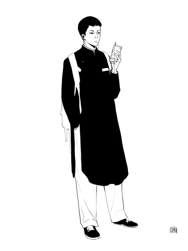 Dân mạng phác họa cảnh nam sinh mặc áo dài đi học, phối sneaker nhìn ngầu phải biết - Ảnh 1.