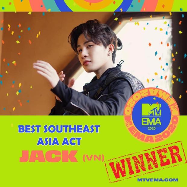 Jack chiến thắng giải Nghệ Sĩ Đông Nam Á xuất sắc nhất tại MTV EMA 2020 sau Mỹ Tâm, Đông Nhi, Sơn Tùng M-TP - Ảnh 3.