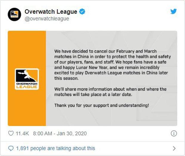 Trước đại dịch virus Corona, giải đấu eSports Overwatch League phải hoãn lịch thi đấu vì sức khỏe cộng đồng - Ảnh 1.