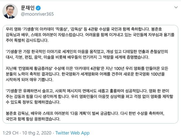 Tổng thống Moon Jae In: Parasite lay động trái tim khán giả toàn thế giới với câu chuyện đậm chất Hàn Quốc - Ảnh 1.