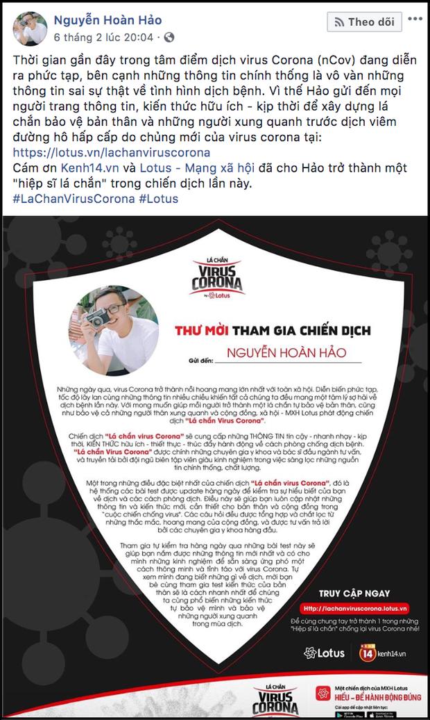 """Sao Vbiz cùng đông đảo KOLs đồng loạt hưởng ứng chiến dịch """"Lá chắn virus corona"""": Bảo vệ mình và xã hội đang là việc làm cấp thiết - Ảnh 38."""