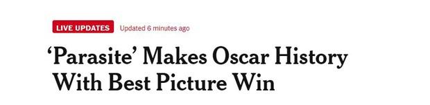 Báo chí toàn thế giới sốc nặng trước thành tích của Parasite: Oscar 2020 bị chỉ trích vì toàn trắng, cuối cùng Châu Á chiến thắng - Ảnh 8.