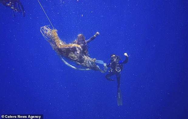 Nhóm thợ lặn chật vật giải cứu cá mập voi khổng lồ bị đoạn dây thừng quấn vào thân, để lại vết hằn lớn trên da thịt - Ảnh 3.
