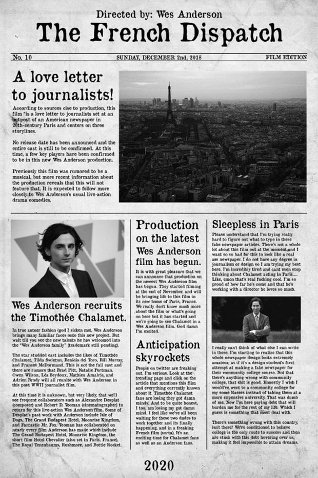Hoàng tử trái đào Timothée Chalamet khỏa thân toàn bộ trong poster của The French Dispatch - Ảnh 3.