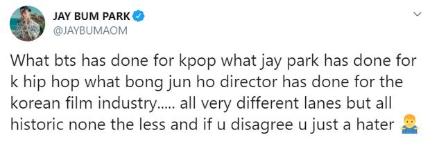"""So sánh mình ngang với BTS và đạo diễn """"Ký Sinh Trùng"""", Jay Park bị netizen """"ném đá"""" tơi bời vì tự cao tự đại - Ảnh 6."""