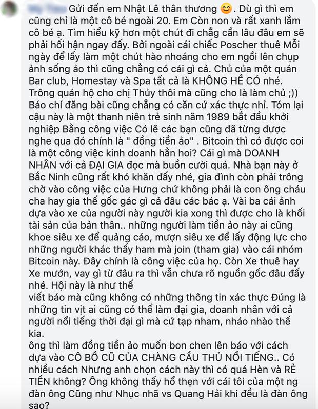 Fan viết tâm thư dài dặc gửi Nhật Lê, tố tình mới của cô không phải đại gia, kinh doanh đa cấp và còn lâu mới bằng được Quang Hải - Ảnh 4.