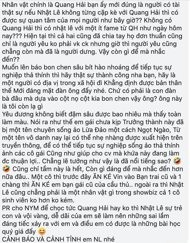 Fan viết tâm thư dài dặc gửi Nhật Lê, tố tình mới của cô không phải đại gia, kinh doanh đa cấp và còn lâu mới bằng được Quang Hải - Ảnh 5.