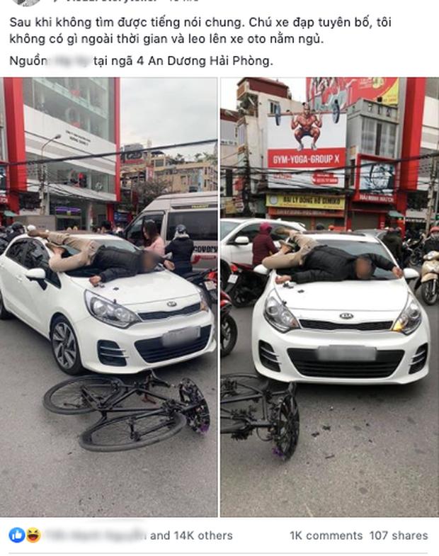 Hình ảnh người đàn ông nằm dài trên cửa kính ô tô sau va chạm giao thông vì không hoà giải được khiến nhiều người ngán ngẩm - Ảnh 1.
