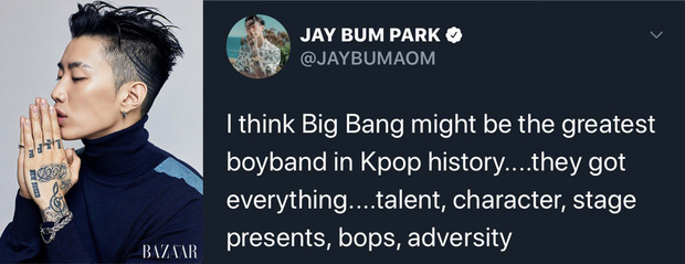 Jay Park bất ngờ tôn BIGBANG là nhóm nhạc vĩ đại nhất lịch sử Kpop, BTS và EXO bỗng bị lôi vào cuộc tranh cãi nảy lửa - Ảnh 1.