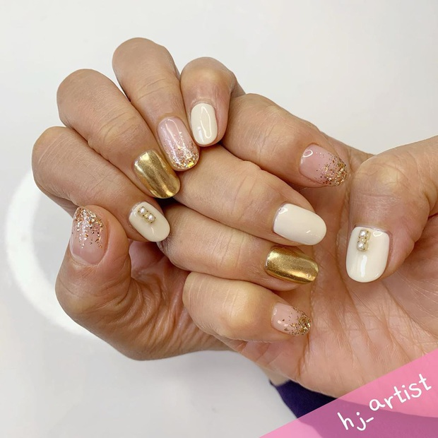 Tham khảo 20 mẫu nail mạ vàng cực đẹp và sang đang rất hot tại Hàn Quốc - Ảnh 8.