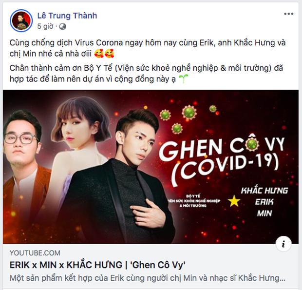Min - Erik - Khắc Hưng bất ngờ tái hợp, tung phiên bản Ghen mới toanh để tuyên truyền đẩy lùi dịch Corona! - Ảnh 3.