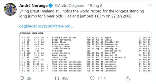 10 sự thật có thể bạn chưa biết về Erling Haaland, chân sút khét nhất châu Âu hiện nay: Thần tượng Ronaldo, từng lập kỷ lục thế giới nhảy xa hồi 5 tuổi - Ảnh 2.