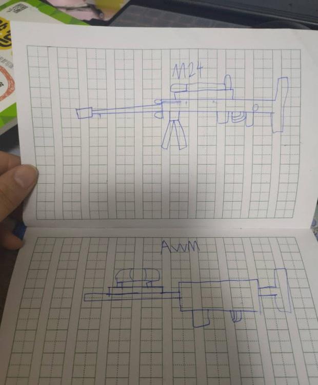Game thủ 7 tuổi vẽ lại hệ thống vũ khí trong PUBG khiến cư dân mạng há mồm ngã ngửa - Ảnh 4.