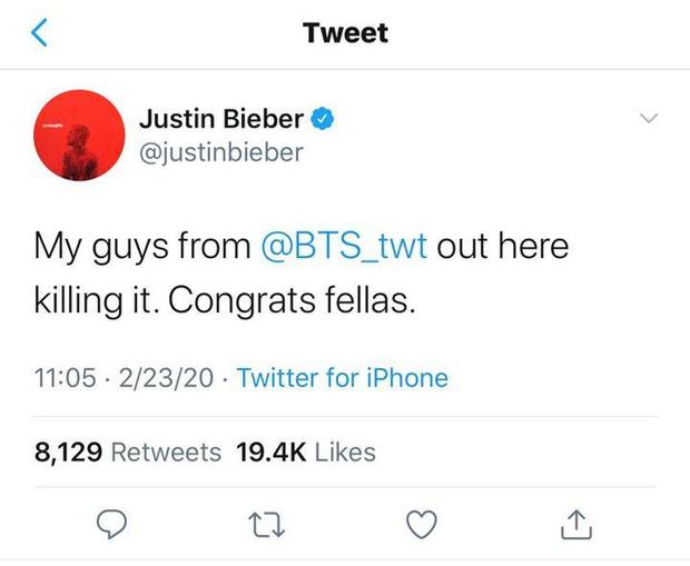Justin Bieber gọi BTS là my guys và thảo mai chúc mừng, liệu có biết chính BTS sẽ vượt mặt mình trong cuộc chiến bán đĩa hay không? - Ảnh 1.