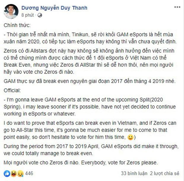 HLV Tinikun bất ngờ hé lộ kế hoạch dừng làm HLV Gam Esports, cộng đồng tiếc nuối một huyền thoại của VCS! - Ảnh 1.