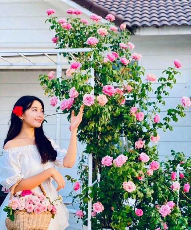 Khí chất hoa hậu tương lai: Lọ Lem con gái MC Quyền Linh đứng trong vườn nhà chụp ảnh thôi mà cứ như photoshoot chuyên nghiệp - Ảnh 1.